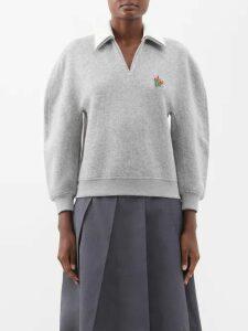 Osman - Puff Sleeve Crepe Dress - Womens - Black