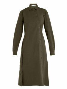 Tomas Maier - Asymmetric Buttoned Poplin Dress - Womens - Khaki