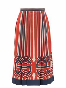 Rodarte - Flocked Polka Dot Chiffon Skirt - Womens - Black White