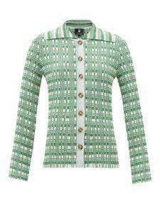 Mm6 Maison Margiela - Metallic Heavy Knit Sweater Dress - Womens - Black Silver