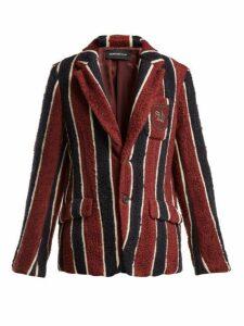 Undercover - Striped Bouclé Blazer - Womens - Burgundy