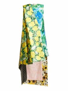 Richard Quinn - Floral Print Asymmetric Satin Dress - Womens - Multi