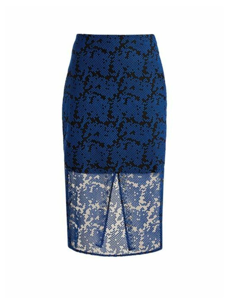 Diane Von Furstenberg - Geometric Embroidered Tulle Pencil Skirt - Womens - Blue