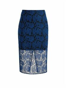 Diane Von Furstenberg - Geometric Embroidered Tulle Pencil Skirt - Womens - Blue