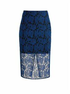 Diane Von Furstenberg - Geometric-embroidered Tulle Pencil Skirt - Womens - Blue