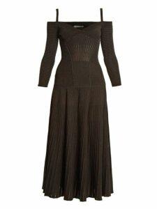 Alexander Mcqueen - Cut Out Shoulder Wool Blend Dress - Womens - Black