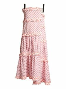 Loewe - Patchwork Print Tiered Cotton Dress - Womens - Pink White