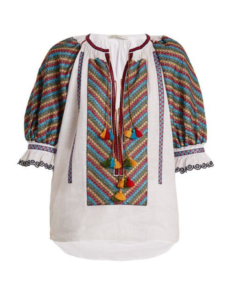 Vita Kin - Bulgaria Embroidered Mid Weight Linen Blouse - Womens - White Multi