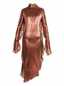 Paula Knorr - Relief Waterfall Ruffled Silk Blend Lamé Dress - Womens - Gold