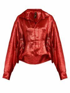 Paula Knorr - Big Long Sleeved Silk Blend Lamé Shirt - Womens - Red