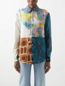 Elie Saab - Ruffle Silk Blend Skirt - Womens - Coral