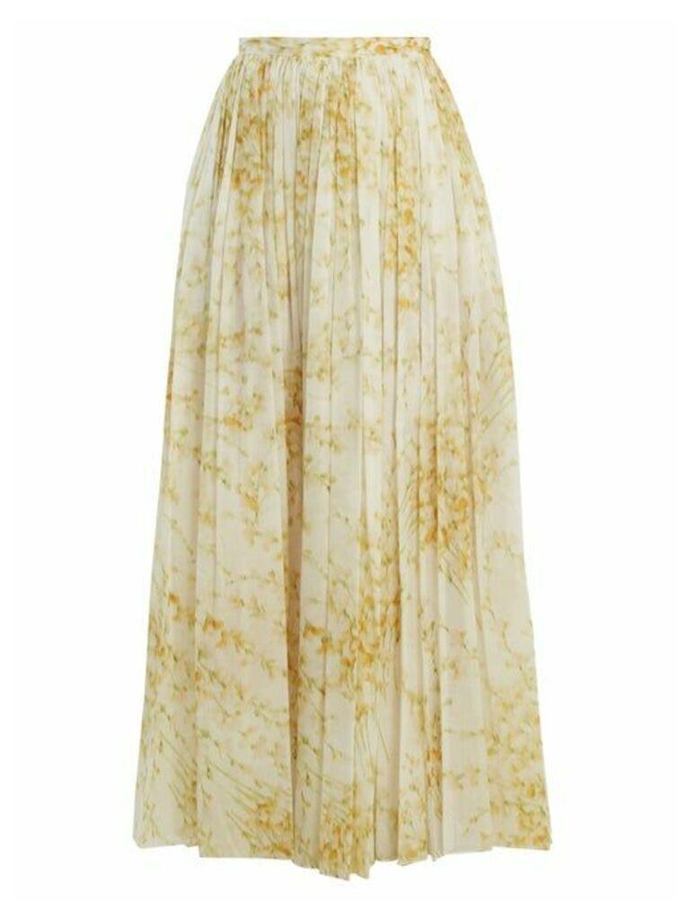 Brock Collection - Sade Sweet Pea Print Gathered Cotton Skirt - Womens - White Print