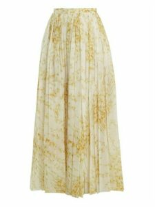 Brock Collection - Sade Sweet Pea Print Gathered Cotton Skirt - Womens - White Print