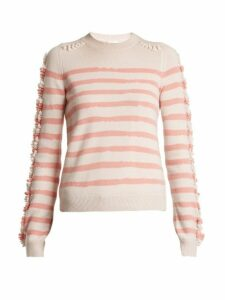 Barrie - Stripe Loop Stitch Knit Cashmere Sweater - Womens - Pink Stripe