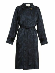 Peter Pilotto - Jacquard Satin Trench Coat - Womens - Navy Print