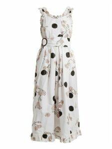 Isa Arfen - Ruffle Trimmed Polka Dot Print Cotton Dress - Womens - White Print