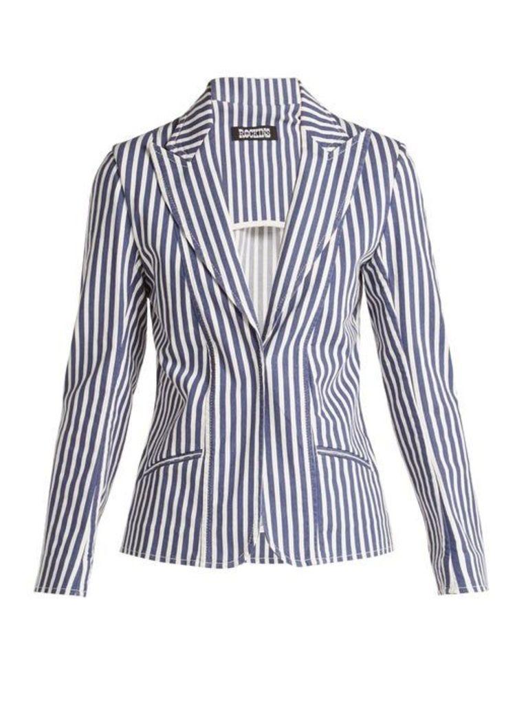 Rockins - Single Breasted Denim Blazer - Womens - Blue Stripe