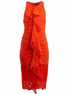 Proenza Schouler - Ruffle Lace Cotton Blend Midi Dress - Womens - Coral