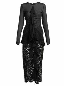 Proenza Schouler - Ruffle Front Lace Dress - Womens - Black