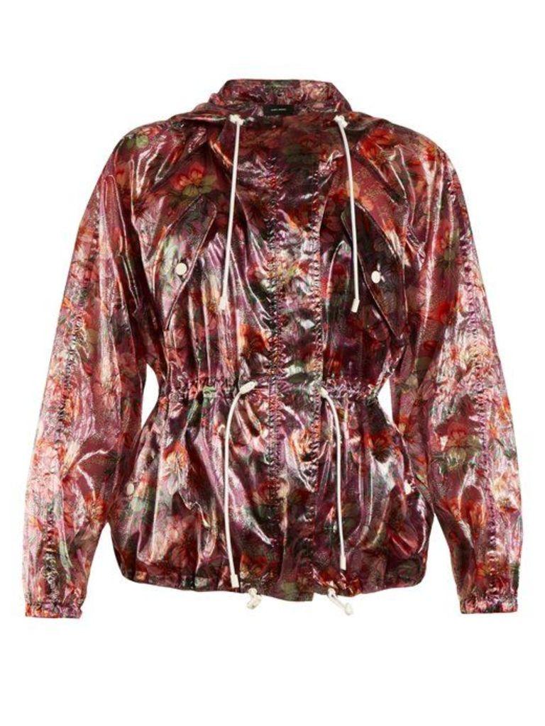 Isabel Marant - Olaz Floral Print Hooded Jacket - Womens - Purple Multi
