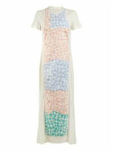 Loewe - Crinkled Gingham Panel Dress - Womens - White Multi