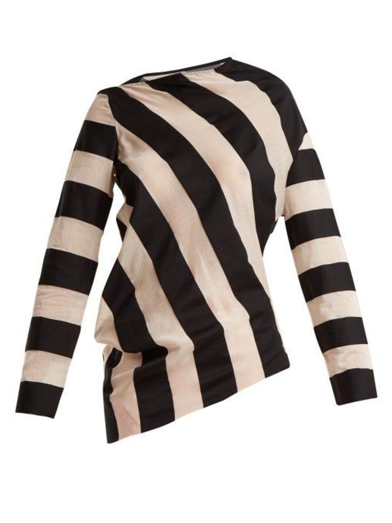Marques'almeida - Asymmetric Hem Striped Cotton Blend Top - Womens - Black White