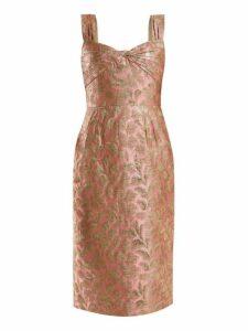 Prada - Sweetheart Neck Floral Brocade Dress - Womens - Light Pink