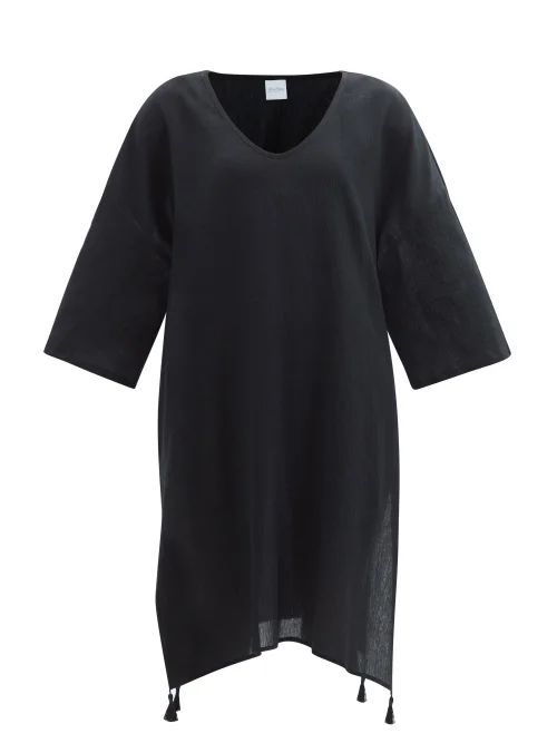 Raey - Tumbled Leather Midi Pencil Skirt - Womens - Black
