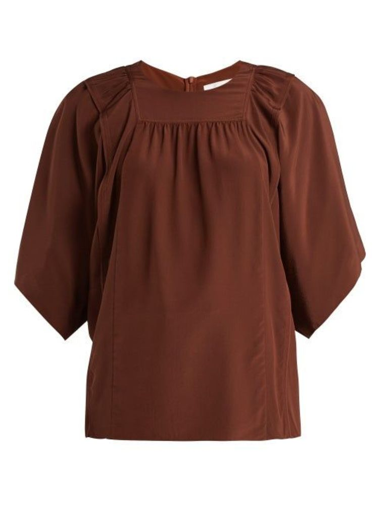 Chloé - Square Bib Silk Crepe De Chine Blouse - Womens - Dark Brown