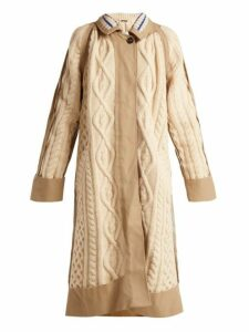 Maison Margiela - Cable Knit Wool Blend Coat - Womens - Cream