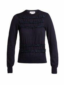 Comme Des Garçons Girl - Ruffled Wool Sweater - Womens - Navy