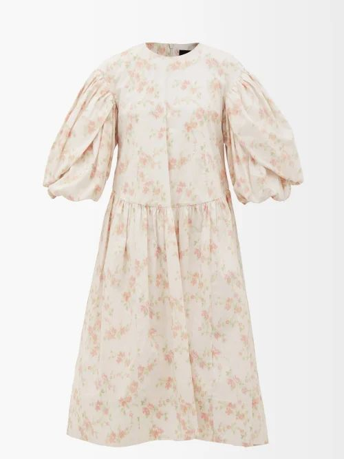 Roksanda - Syve Twist Back Asymmetric Hem Wool Dress - Womens - Beige