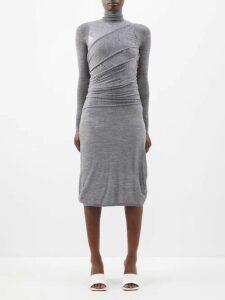 Johanna Ortiz - La Divinidad Asymmetric Satin Dress - Womens - Light Pink