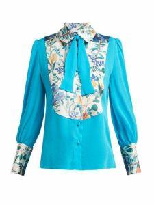 Edeltrud Hofmann - Jolly Floral Print Silk Blouse - Womens - Blue Multi