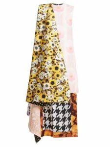 Richard Quinn - Asymmetric Floral Print Panelled Satin Dress - Womens - Multi