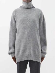 Raey - Displaced Sleeve Roll Neck Wool Sweater - Womens - Grey