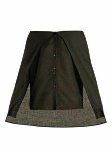 Palmer//harding - Draped Off The Shoulder Wool Voile Shirt - Womens - Black