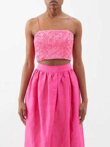 Brock Collection - Freda Mink Fur Coat - Womens - Light Pink