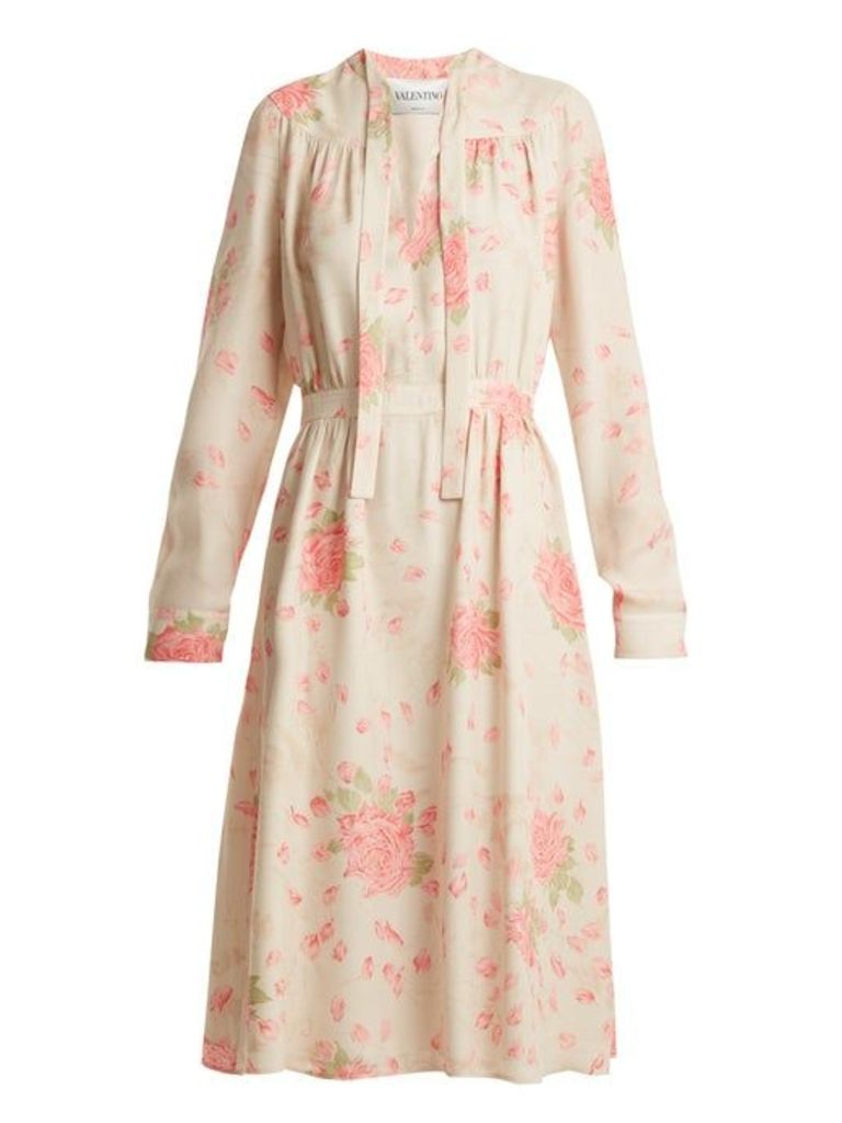 Valentino - Rose Print Silk Georgette Dress - Womens - Pink Print