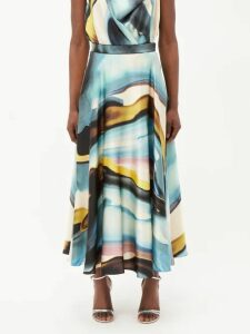 Altuzarra - Gwendolyn Ribbed Knit Midi Skirt - Womens - Orange