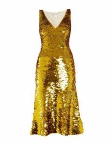 Oscar De La Renta - V Neck Sequin Embellished Silk Blend Dress - Womens - Gold