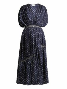 Gabriela Hearst - Winston Polka Dot Ruched Silk Twill Dress - Womens - Navy White