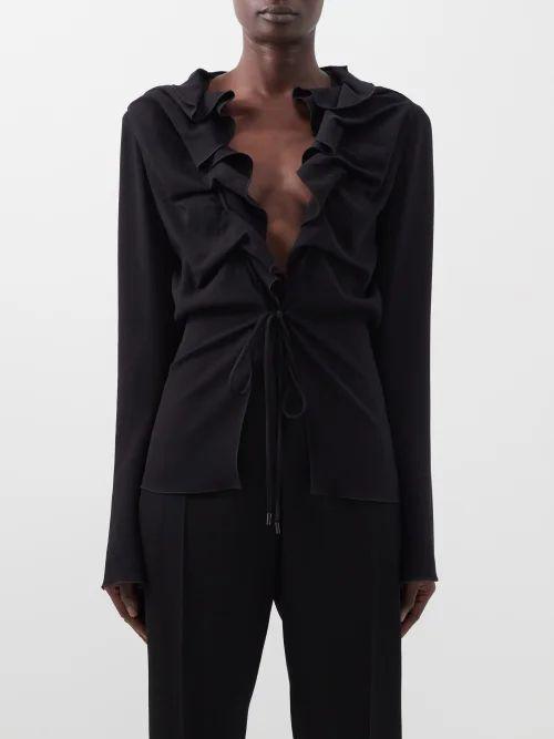 Simone Rocha - Asymmetric Hem Satin Skirt - Womens - Cream
