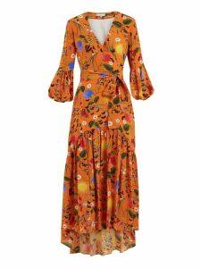 Borgo De Nor - Ingrid Garden Print Silk Dress - Womens - Orange Print