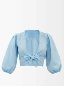 Prada - Contrast-panel Asymmetric-neck Brocade Dress - Womens - Green Multi