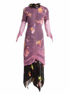 Preen By Thornton Bregazzi - Lynn Floral Print Tulle Overlay Dress - Womens - Pink Multi