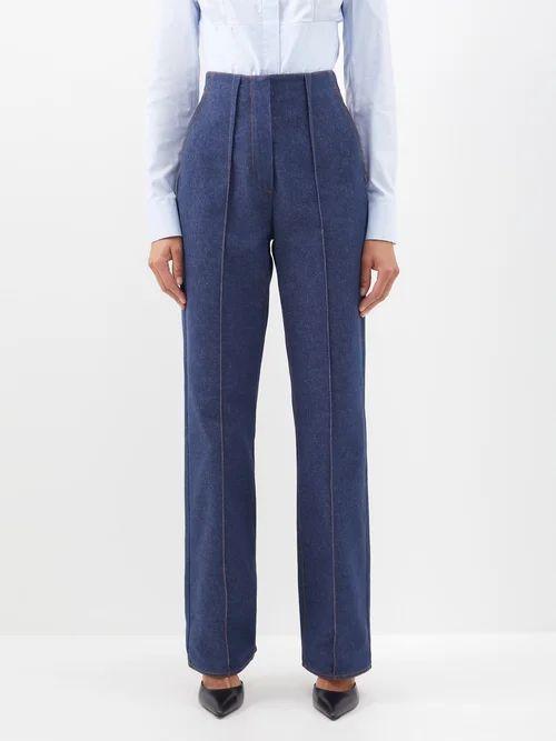 Miu Miu - Distressed Leather A Line Skirt - Womens - Black
