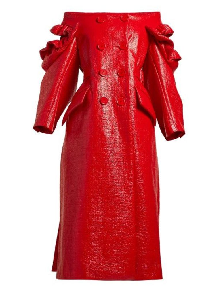 Simone Rocha - Off The Shoulder Patent Double Breasted Coat - Womens - Red