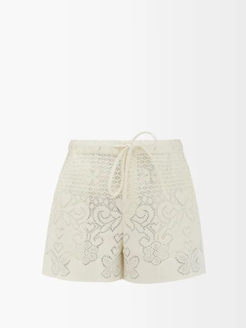 Oscar De La Renta - Swirl Embroidered Strapless Silk Dress - Womens - Green