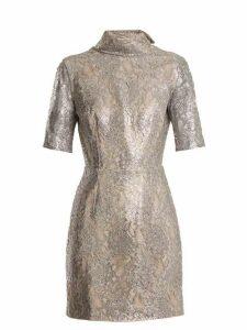Emilia Wickstead - Pearl Floral Lace Mini Dress - Womens - Silver